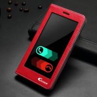 Чехол флип подставка на пластиковой основе с полноразмерным окном вызова для Huawei Honor 7 Красный