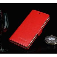 Кожаный чехол портмоне (нат. кожа) подставка для Huawei Honor 7 Красный