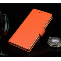 Кожаный чехол портмоне (нат. кожа) подставка для Huawei Honor 7 Оранжевый