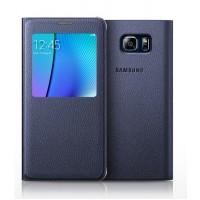 Оригинальный кожаный чехол смарт флип на пластиковой основе с окном вызова (нат. кожа) для Samsung Galaxy Note 5 Синий