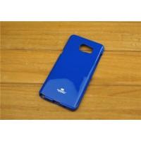 Силиконовый глянцевый непрозрачный чехол повышенной жесткости для Samsung Galaxy Note 5 Синий