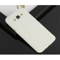 Силиконовый матовый нанотонкий 0.39 мм чехол для Samsung Galaxy E7 Белый