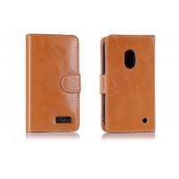 Вощеный чехол портмоне для Nokia Lumia 620 Оранжевый