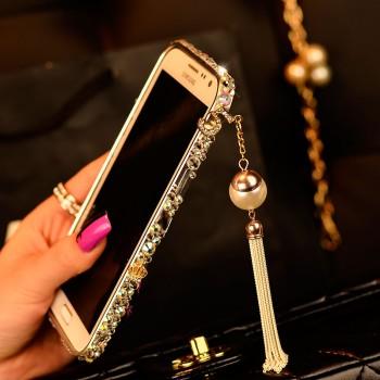 Дизайнерский металлический бампер с инкрустацией стразами и бижутерией ручной работы для Samsung Galaxy Note 4