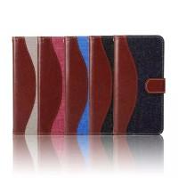 Чехол портмоне подставка с тканевыми вставками и магнитной защелкой для Samsung Galaxy A8