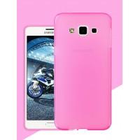 Силиконовый матовый утратонкий полупрозрачный чехол для Samsung Galaxy A8 Розовый