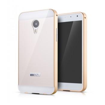 Двухкомпонентный чехол с металлическим бампером и двухцветной поликарбонатной накладкой для Meizu MX4 Pro