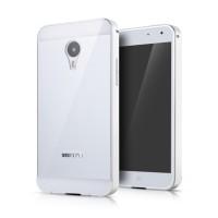Двухкомпонентный чехол с металлическим бампером и двухцветной поликарбонатной накладкой для Meizu MX4 Pro Белый
