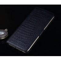 Кожаный чехол портмоне подставка (нат. кожа крокодила) с магнитной защёлкой для Samsung Galaxy A8 Черный