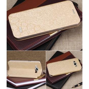 Чехол флип подставка на пластиковой основе текстура Соты для Samsung Galaxy A8