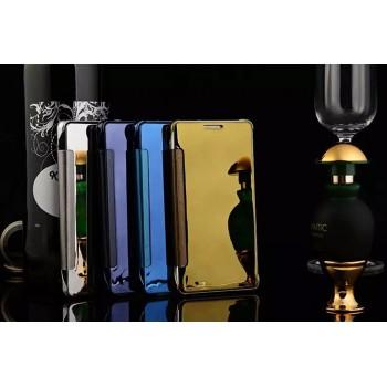 Двухмодульный пластиковый чехол флип с транспарентно-зеркальной смарт крышкой для Samsung Galaxy A8