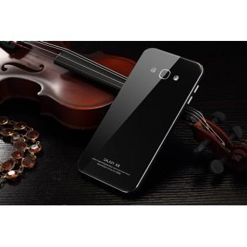 Гибридный двухкомпонентный чехол с металлическим бампером и закаленной стеклянной накладкой для Samsung Galaxy A8