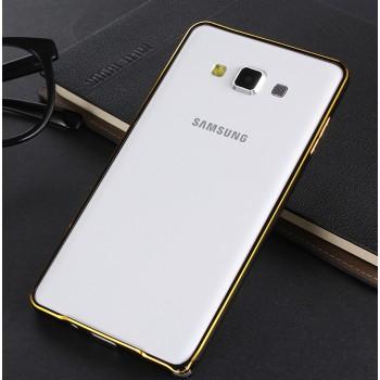 Металлический бампер с золотой окантовкой для Samsung Galaxy A8
