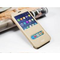 Текстурный чехол флип подставка на пластиковой основе с магнитной защелкой, окном вызова и свайпом для Samsung Galaxy A8 Бежевый