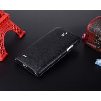 Кожаный чехол вертикальная книжка с защёлкой для Huawei Ascend G700 Черный