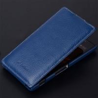 Кожаный чехол вертикальная книжка с защёлкой для Sony Xperia C Синий