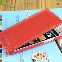 Кожаный чехол вертикальная книжка с защёлкой для HTC One Mini Красный
