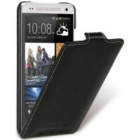 Кожаный чехол вертикальная книжка с защёлкой для HTC One Mini Черный