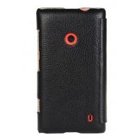 Кожаный чехол горизонтальная книжка для Nokia Lumia 520 Черный