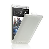 Кожаный чехол вертикальная книжка (нат. кожа) для HTC One (М7) Dual SIM Белый