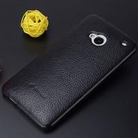 Кожаный чехол накладка Back Cover для HTC One (М7) Dual SIM Черный