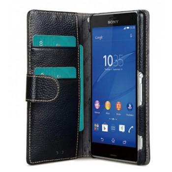 Кожаный чехол горизонтальная книжка с отделением для карт с крепежной застежкой для Sony Xperia Z3