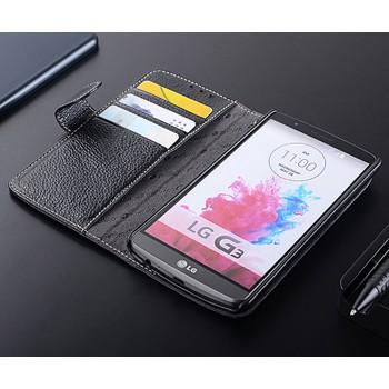 Кожаный чехол горизонтальная книжка с отделением для карт с крепежной застежкой для LG G3 (Dual-LTE)