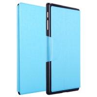 Чехол подставка на пластиковой основе со слотом для карт и застежкой текстурный Silk для Samsung Galaxy Tab S 10.5 Голубой