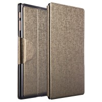 Чехол подставка на пластиковой основе со слотом для карт и застежкой текстурный Silk для Samsung Galaxy Tab S 10.5 Бежевый