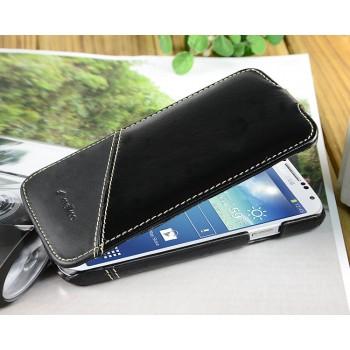 Кожаный чехол вертикальная книжка (2 вида кожи) для Samsung Galaxy S4