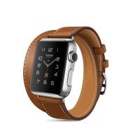 Кожаный прошитый удлиненный ремешок-браслет (нат. кожа) с металлическим коннектором и стальной пряжкой для Apple Watch 38мм Коричневый