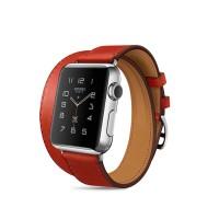 Кожаный прошитый удлиненный ремешок-браслет (нат. кожа) с металлическим коннектором и стальной пряжкой для Apple Watch 38мм Красный
