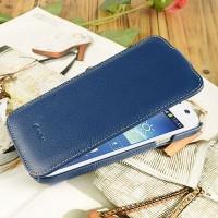 Кожаный чехол вертикальная книжка с защёлкой для Samsung Galaxy Mega 5.8 Синий
