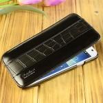 Кожаный чехол вертикальная книжка (2 вида кожи) с защёлкой для Samsung Galaxy Mega 5.8