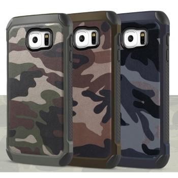 Двухкомпонентный чехол с силиконовой подложкой и поликарбонатной накладкой Камуфляж для Samsung Galaxy S6 Edge Plus