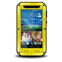 Антиударный пылевлагозащищенный гибридный премиум чехол силикон/металл/закаленное стекло для HTC Desire 820 Желтый