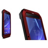 Антиударный пылевлагозащищенный гибридный премиум чехол силикон/металл/закаленное стекло для Sony Xperia T2 Ultra (Dual) Красный