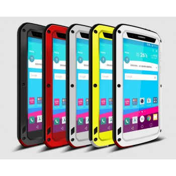 Антиударный пылевлагозащищенный гибридный премиум чехол силикон/металл/закаленное стекло для LG G4