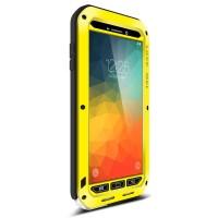 Антиударный пылевлагозащищенный гибридный премиум чехол силикон/металл/закаленное стекло для Samsung Galaxy Note 5 Желтый