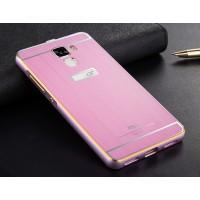 Двухкомпонентный чехол с металлическим бампером с золотой окантовкой и поликарбонатной накладкой для Huawei Honor 7 Розовый