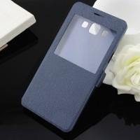 Текстурный чехол флип на пластиковой основе с окном вызова для Samsung Galaxy A7 Синий