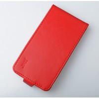 Чехол вертикальная глянцевая книжка на пластиковой основе с магнитной застежкой для Lenovo A536 Ideaphone Красный