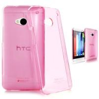Пластиковый полупрозрачный чехол для HTC One (M7) Dual SIM Розовый