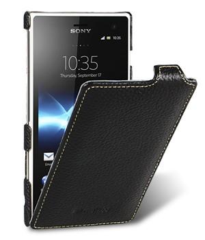 Кожаный чехол вертикальная книжка для Sony Xperia acro S