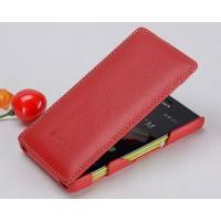Кожаный чехол книжка вертикальная для Sony Xperia M Красный