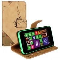 Чехол портмоне подставка с защелкой с принтом Карта для Nokia Lumia 630/635