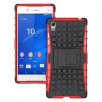 Антиударный силиконовый чехол экстрим защита с подставкой для Sony Xperia Z5 Красный