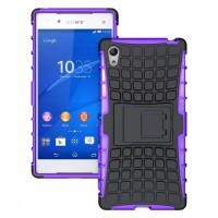 Антиударный силиконовый чехол экстрим защита с подставкой для Sony Xperia Z5 Фиолетовый