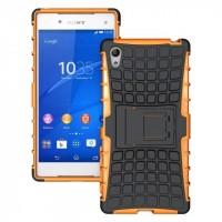 Антиударный силиконовый чехол экстрим защита с подставкой для Sony Xperia Z5 Оранжевый