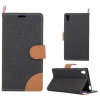 Тканевый чехол портмоне подставка на силиконовой основе с магнитной защелкой для Sony Xperia Z5